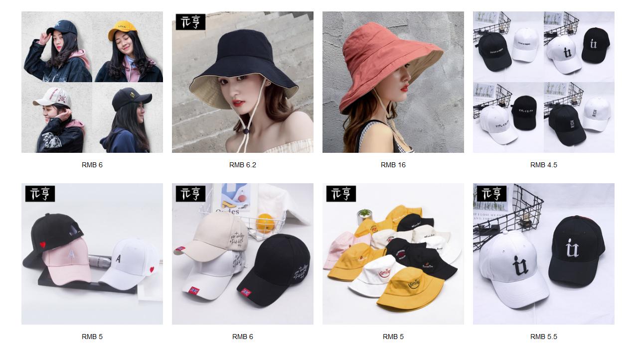 Link hàng nón các loại giá sỉ từ 1688.com